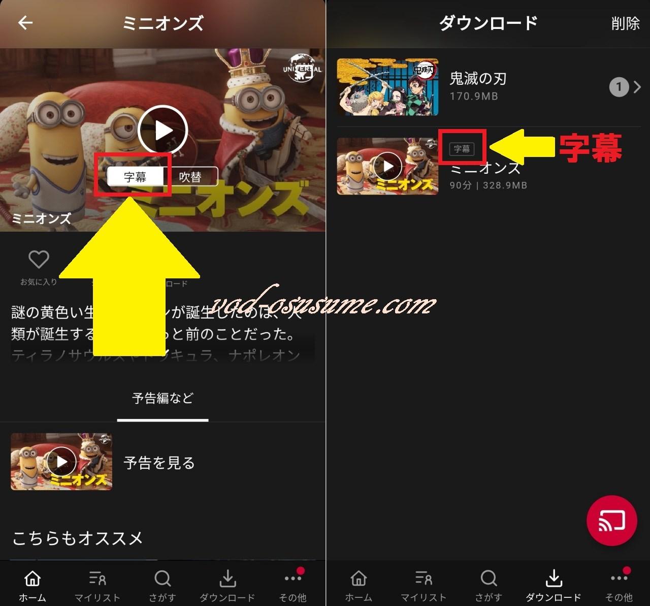字幕を選んでダウンロードすると字幕の動画が保存される